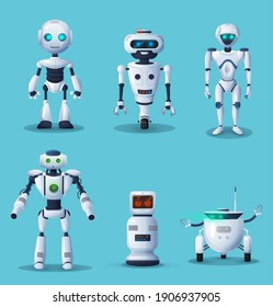 Future robots .cartoon characters. Cute robots, humanoid cyborgs or robotic house assistants with artificial intelligence technology, alien life machine with glowing neon light eyes vector