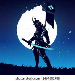 Future samurai with light sword cartoon vector illustration