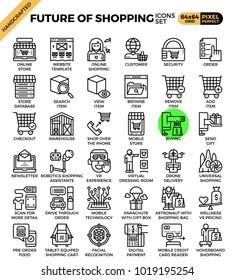 Future of shopping concept icons set in modern line icon style for ui, ux, website, web, app graphic design