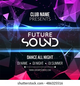 Future sound Party Template, Dance Party Flyer, brochure. Night Party Club Banner Poster