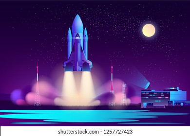 Future space shuttle night start from launch pad near flight control center cartoon vector illustration in neon colors. Space exploration program freight carrier vehicle. Modern commercial starship