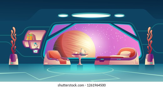 Future space station, science fiction starship, orbital hotel or colony room, crew cabin interior cartoon vector with futuristic furniture, extraterrestrial plants, planet in porthole illustration