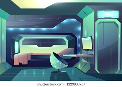 Future spaceship crew member personal cabin minimalistic interior with neon ambient light, bed in sleeping block and futuristic armchair in front of desk with monitor cartoon vector illustration