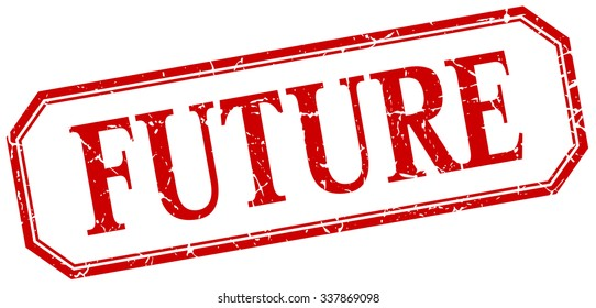 future square red grunge vintage isolated label