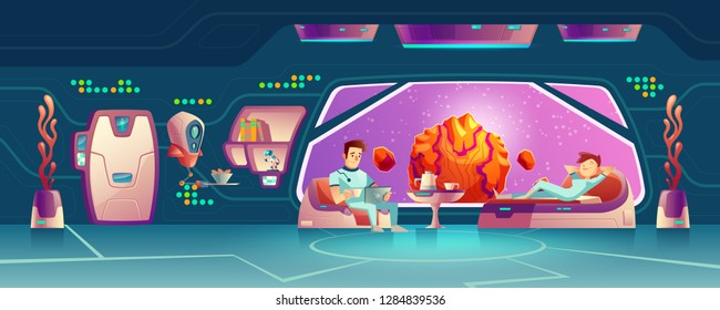 Future starship crew members, female and male astronauts, deep space explores, tourists or colonists couple resting in space station, orbital hotel or colony base room cartoon vector illustration
