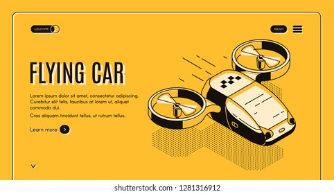 Future taxi service isometric vector web banner. Flying car, futuristic copter with two propellers for passenger transportation line art illustration. City transport technological startup landing page