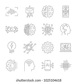 Future technologies icons. AI, quantum computing, robot, IoT, smart CPU and other. Editable Stroke. EPS 10