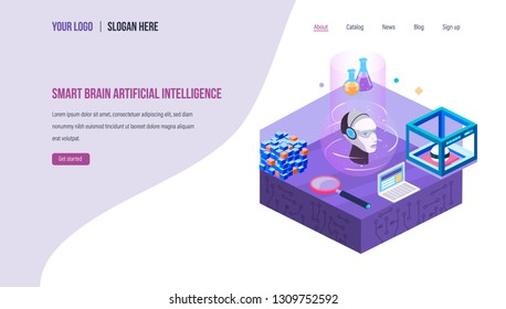 Future technologies, research and inventions in data center. Smart robot with artificial intelligence, digital brain memory with thought process. Landing page template. Isometric vector.