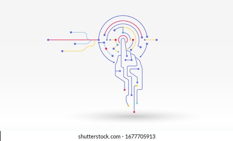 Future technologies system connecting hand click vector digital background