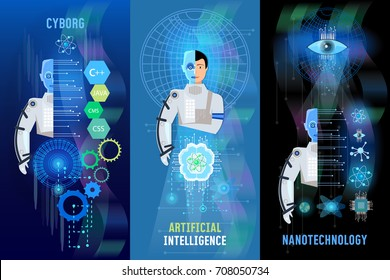 Future technology banner, nanotechnologies, programming of robots, cyborg, artificial intelligence, people and computers, microchips