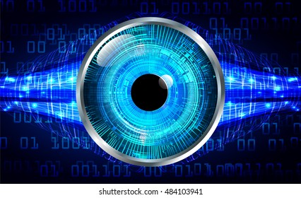 future technology, blue eye cyber security concept background, abstract hi speed digital internet.motion move speed blur