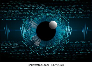 future technology, blue eye cyber security concept background, abstract hi speed digital internet.motion move blur. pixel . wave vector. eyeball. EKG