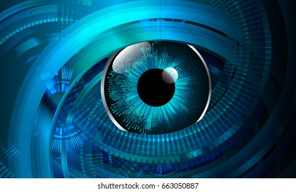 future technology, blue eye cyber security concept background, abstract hi speed digital internet.motion move blur. pixel. vector