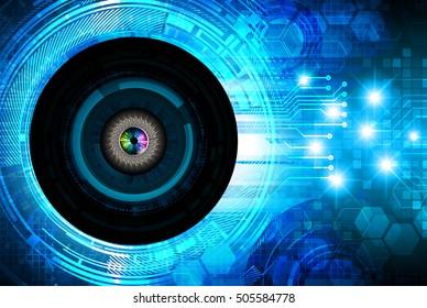 future technology, blue eye light cyber security concept background, abstract hi speed digital data internet website. motion move speed blur. eyeball