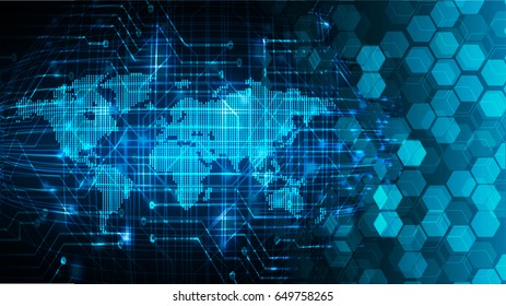 future technology, blue world map cyber security concept background, abstract hi speed digital internet.motion move blur. pixel. vector