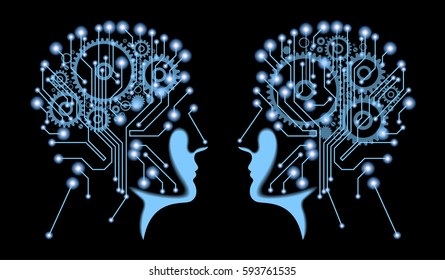 The future of technology. Cyber concept. Silhouette of man's head with the motherboard and gears. Artificial Intelligence. Vector eps10 illustration