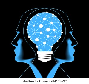 The future of technology. Cyber concept. Silhouette of man's head with the motherboard and bulb. Artificial Intelligence. Vector eps10 illustration