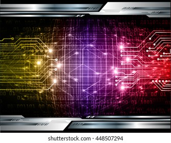 future technology, security concept background, Dark yellow purple red cyber Light Abstract for computer graphic website internet. circuit. illustration. infographics. motion move. binary