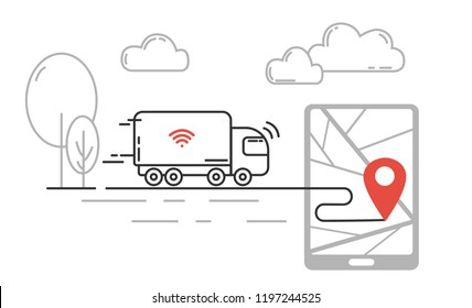 Future technology of transport - self driving truck moving by highway. Vector line illustration.