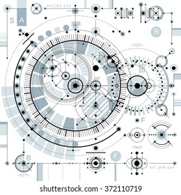 Future technology vector drawing, industrial wallpaper. Graphic illustration of engine or mechanism.