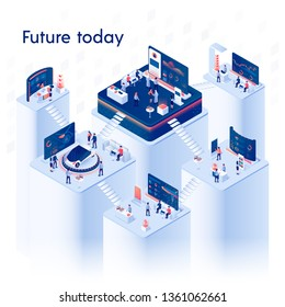 Future Today Square Banner. Multistory Exhibition Center Composition on White Background with Expo Stands, Business People Walking Around and Different Exhibit Booths 3D Isometric Vector Illustration.