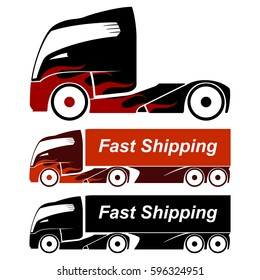 Future truck icons set. Fast shipping.