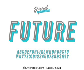 """Future"" Vintage 3D Fresh Inline Condensed Alphabet. Retro Futuristic Typography. Vector Illustration."