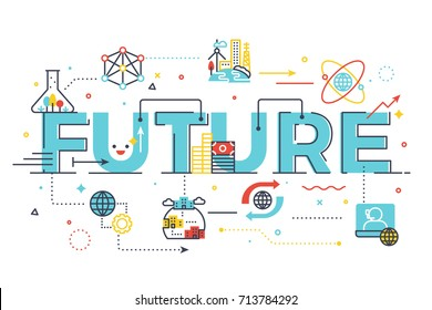 Future word lettering illustration for education concept. Design in modern style with related line icons ornament concept for ui, ux, web, app banner illustration