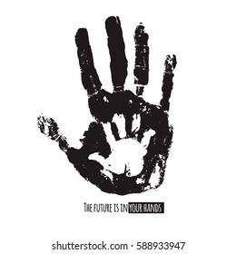 Future in your hands social illustration. Handprint of an adult and a child. Vector black and white illustration. Parenting creative design