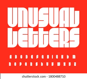 Futurism letters set. Bauhaus font. Unusual high bold alphabet. Original vector typeface for typographic posters, ads, logo, identities, gigs, sport events, packaging, digital media, motion graphics