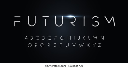 Futurism style alphabet. Thin segment line font, minimalist type for modern futuristic logo, elegant monogram, digital device and hud graphic. Minimal style letters, vector typography design.