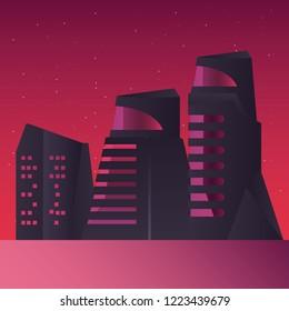 futurist building night stars scene