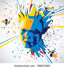 Futuristic 3d vector background made using Bauhaus elements. Head of woman exploding with thoughts created in low poly style, can be used in posters and presentations on subject of human imagination.