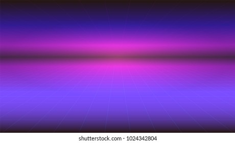 Futuristic abstract background with stretches beyond the horizon of the surface. Horizontal Sci-fi retro gradient, vintage style of the 80s. Digital cyber world, virtual surface with neon grids.