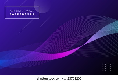 Futuristic abstract blue purple gradient wave line vector on Memphis dark background, colorful digital dynamic elegant flow waves, technology concept for web, poster, card print design template