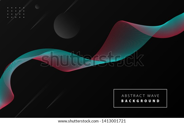 Futuristic Abstract Blue Red Gradient Wave Stock Vector (Royalty