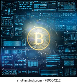 Futuristic Abstract HUD with Golden bitcoin. digital currency money. technology worldwide network concept. vector illustration