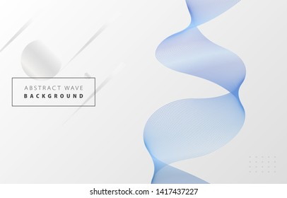 Futuristic abstract metal blue gradient wave line vector with Memphis on white background, blued steel digital dynamic elegant flow, technology concept for web, poster, card print design template