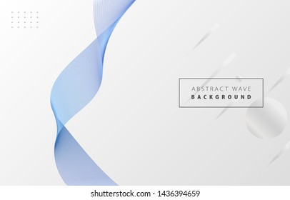 Futuristic abstract metal blue gradient wave line vector on Memphis white background, blued steel digital dynamic elegant wavy flow, technology concept for web, poster, card print design template