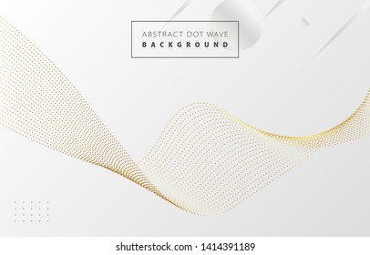 Futuristic abstract metal gold gradient dot wave line vector with Memphis  on white background, dotted golden yellow digital dynamic elegant flow, technology concept for web, poster, card print design