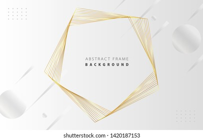 Futuristic abstract metal gold gradient pentagon frame vector on white Memphis background, rotate golden yellow line digital dynamic elegant polygon spin, technology web, poster, card print template