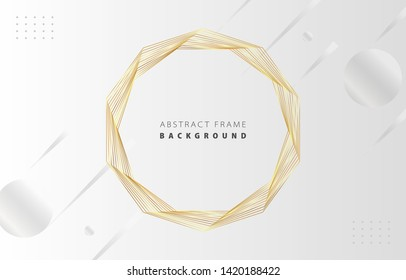 Futuristic abstract metal gold gradient decagon frame vector on white Memphis background, rotate golden yellow line digital dynamic elegant polygon spin, technology web, poster, card print template