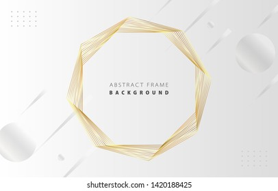 Futuristic abstract metal gold gradient octagon frame vector on white Memphis background, rotate golden yellow line digital dynamic elegant polygon spin, technology web, poster, card print template