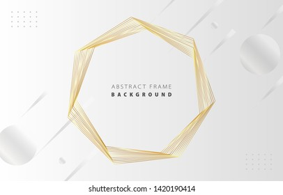 Futuristic abstract metal gold gradient heptagon frame vector on white Memphis background, rotate golden yellow line digital dynamic elegant polygon spin, technology web, poster, card print template