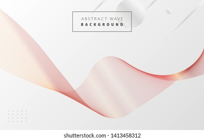 Futuristic abstract metal red gradient wave line vector with Memphis on white background, rose copper digital dynamic elegant flow, technology concept for web, poster, card print design template