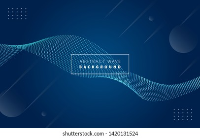 Futuristic abstract metal tiffany blue gradient dot wave line vector on Memphis dark background, dotted blued steel digital dynamic elegant flow, technology web, poster, card print design template