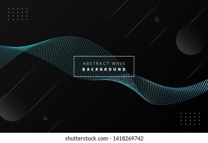 Futuristic abstract tiffany blue gradient dot wave line vector on Memphis black background, dotted metal blued steel digital dynamic elegant flow, technology web, poster, card print design template