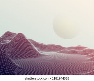 Futuristic abstract vector mesh mountains. Cyberspace grid landscape