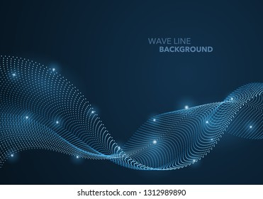Futuristic abstract wave dot gradient line and illuminated light ball template background. Idea both for print and web promotion design.
