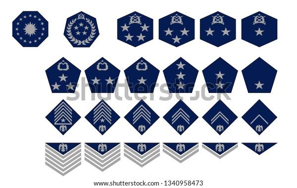Futuristic Air Force Ranks Insignias Stock Vector (Royalty